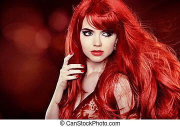 coloration, bouclé, sur, longs cheveux, mode, fond, hair., portrait, girl, vacances, rouges
