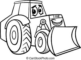 coloration, bulldozer, livre, dessin animé