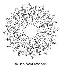 coloration, directement, symétrique, mandala, feuilles, plante, arrangé, parties, veines, contours, cercle, page