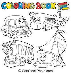 coloration, divers, livre, véhicules
