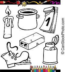 coloration, ensemble, livre, objets, dessin animé