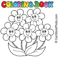 coloration, fleurs, cinq, livre