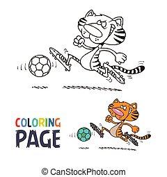coloration, football, page, tigre, dessin animé, jouer