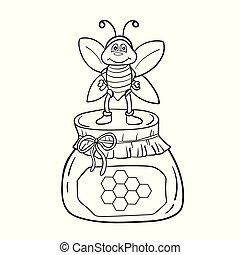 coloration, illustration, abeille, vecteur, noir, honey., blanc, livre, dessin animé