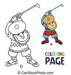coloration, joueur golf, balle, crosse, a, page