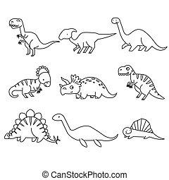 coloration, noir, dino., vecteur, blanc, illustration, dinosaurs., dessin animé, ensemble, livre, mignon