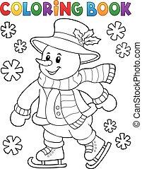 coloration, patinage, bonhomme de neige, livre