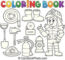 coloration, pompier, 1, thème, ensemble, livre