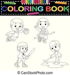 coloration, sport, livre