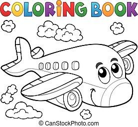 coloration, thème, 2, avion, livre