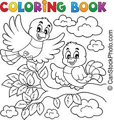 coloration, thème, 2, livre, oiseau