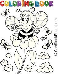 coloration, thème, abeille, 3, livre, heureux