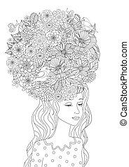 coloration, ton, cheveux façonnent, girl, fleurs, page