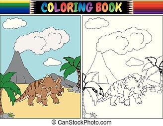 coloration, triceratops, livre, dessin animé