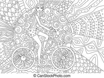coloration, vélo, livre, équitation, girl, heureux