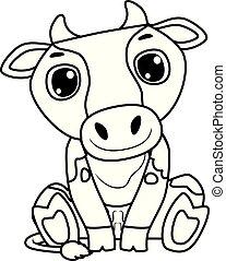 coloration, vache, séance, esquissé, livre, position