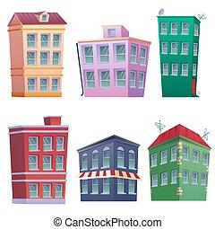 colorfully, 8, maisons, résidentiel, ensemble