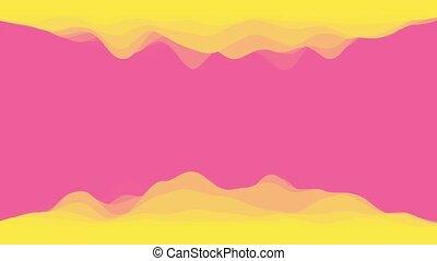 colors., fond, boucle, rose, résumé, wallpaper., 3d, clair, rendre, animation., coloré, jaune, moderne, ondulé