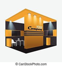 colors., mockup, exposition, commercer, exposer, noir, cabine, orange, conception, stand