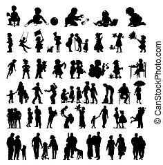 colours., famille, il, illustration, silhouettes, vecteur, noir, enfants