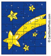 comète, puzzle, étoile