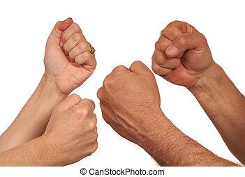 combat, mains