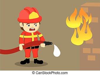 combat, tuyau, pompier, égouttement, brûler