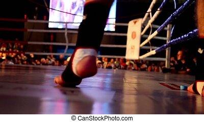 combattant, sauts, boxe, visible, seulement, anneau, jambes