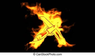 combattant, symbole., brûlé