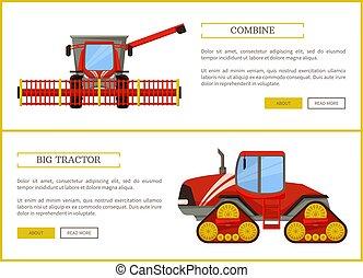 combiner, vecteur, agriculture, tracteur, illustration