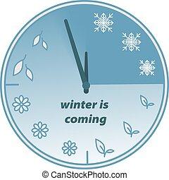 coming., saisons, hiver, horloge, welcome.