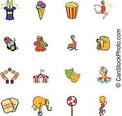 comiques, cirque, ensemble, dessin animé, icônes