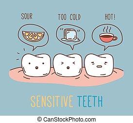 comiques, sensible, sur, teeth.
