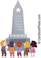 commémoratif, gosses, stickman, illustration, monument