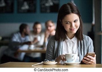commandé, dessert, flirter, regarder, girl, café, types