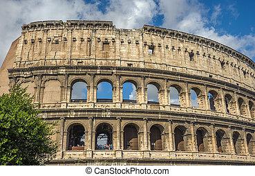 commandant, italie, touriste, (coliseum), rome, attraction, colisée