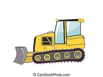 commandant, vecteur, bulldozer., construction., illustration.