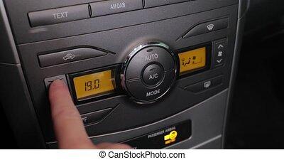 commencer, fermé, chauffage, conditionnement, air, tourner