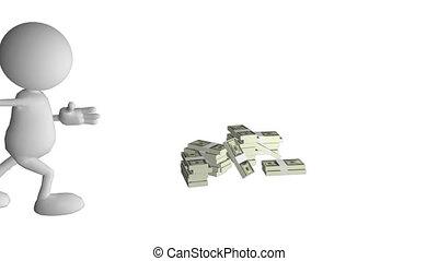 comment, argent, il, homme, beaucoup, projection, ha, 3d