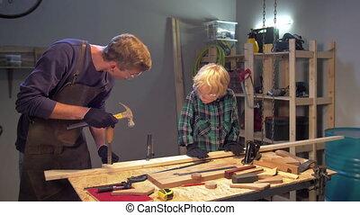comment, bois, garçon, homme, spectacles, travail, atelier