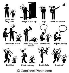 comment, crise colère, gosse, poignée, enfant