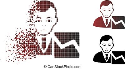 commerçant, malheureux, halftone, pixelated, désintégrer, stockage, icône