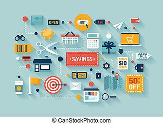 commerce, économies, illustration, plat