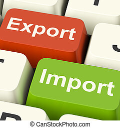 commerce, clés, commerce global, exportation, importation, international, ou, spectacles