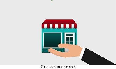 commerce, main, musique, nuage, tenue, ligne, magasin vidéo