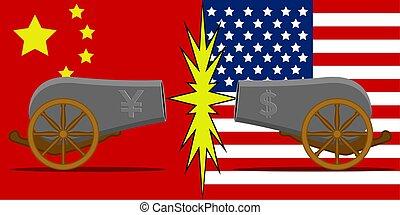 commercer, porcelaine, vs, guerre, usa