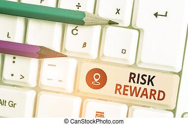 commercer, potentiel, profit, signe, texte, conceptuel, évaluer, photo, risque, sien, reward., loss., relatif, projection