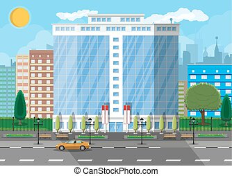 commercial, bâtiment bureau, exterior.
