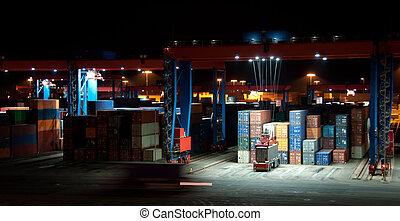 commercial, récipient, port, nuit
