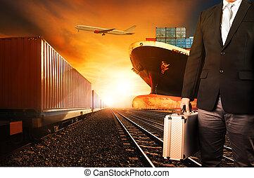 commercial, usage, récipient, au-dessus, cargaison, industrie, voler, fond, port, avion, logistique, trains, transport, fret, investisseur, bateau